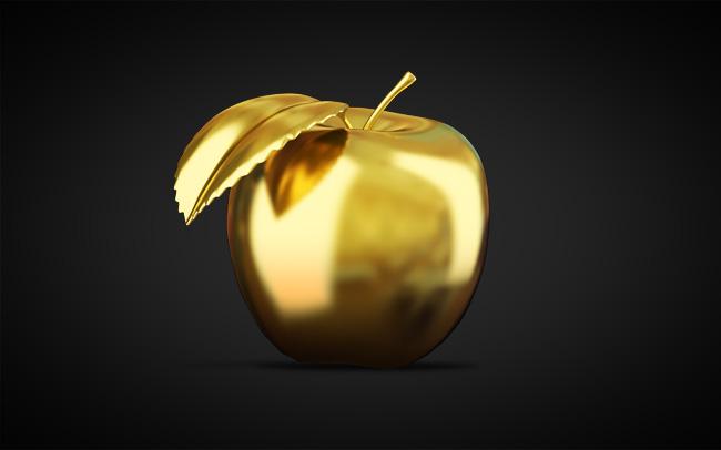 3d визуализация золотого яблока