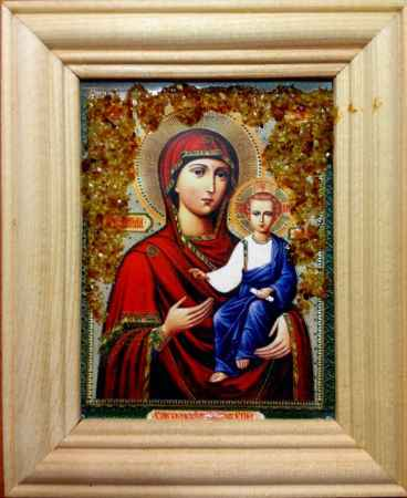 Купить Икона янтарная Смоленская Пресвятая Богородица КЯН-1-309