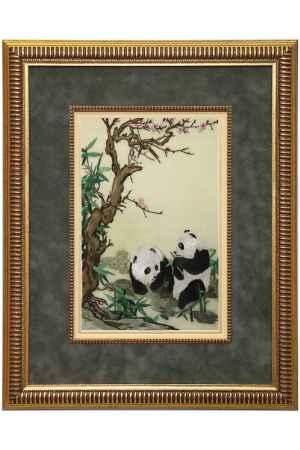 Купить Живой шелк Две панды у цветущего дерева Живой шелк 280413М67-2 МУЛЬТИКОЛОР