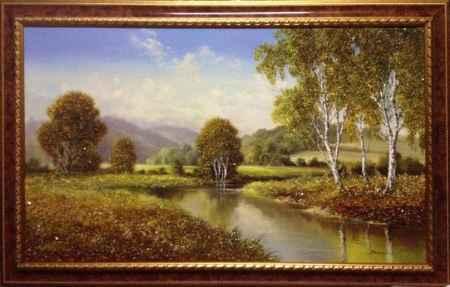 Купить Картина янтарная большая Летняя Река ЗКЯ-004