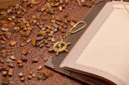 Купить Брелок для ключей. Коллекция Socotra (Штурвал - якорь, золотой; металл)