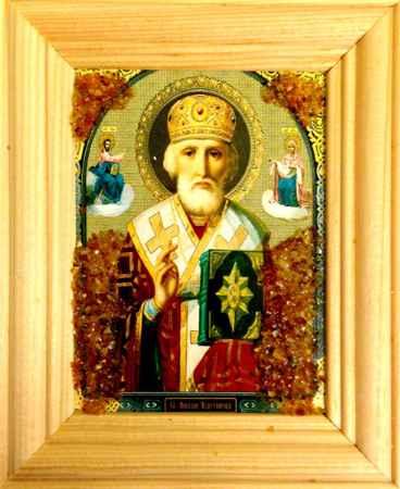 Купить Икона янтарная Николай Чудотворец ИЯН-5-617