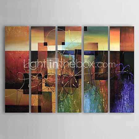 Купить холст картины маслом набор 5 современных абстрактных красные блокировать ручная роспись холст картины готовы повесить