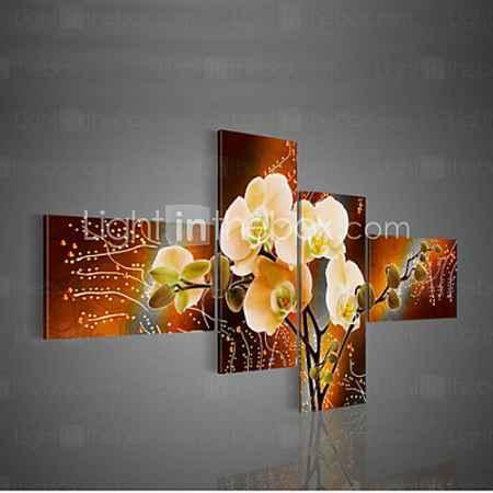 Купить ручная роспись современный декоративный маслом на холсте стены искусства цветка картины для гостиной 4шт / не устанавливал кадр