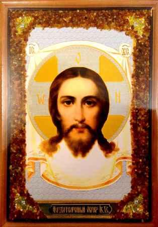 Купить Икона янтарная Нерукотворный Образ Иисуса Христа КЯН-2-214