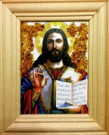 Купить Икона янтарная Иисус Христос КЯН-1-314
