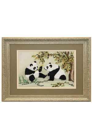 Купить Живой шелк Панды на лужайке Живой шелк 011012М107-1 МУЛЬТИКОЛОР