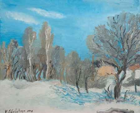 """Купить Картина """"Зимний пейзаж с голубым небом"""""""