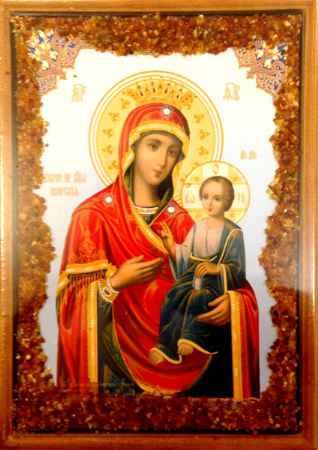 Купить Икона янтарная Божья Матерь Скоропослушница КЯН-2-213