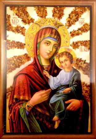 Купить Икона янтарная Божья Матерь Скоропослушница КЯН-2-212