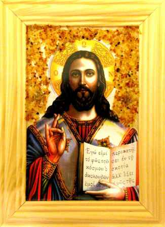 Купить Икона янтарная Иисус Христос иян-2-712