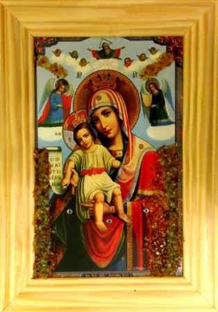 Купить Икона янтарная Милующая / Достойно Есть иян-2-701