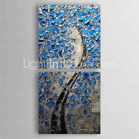Купить Ручной росписью маслом Цветочные Лаки Синий с растянутыми кадр Набор из 2-1309 FL0893