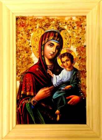 Купить Икона янтарная Божья Матерь Скоропослушница иян-2-706