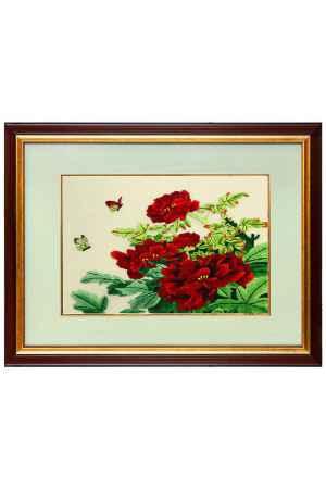 Купить Живой шелк Пионы с бабочками Живой шелк 011012М107-2 МУЛЬТИКОЛОР