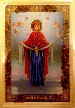 Купить Икона янтарная Покров Пресвятой Богородицы КЯН-2-207