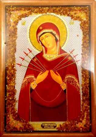 Купить Икона янтарная 23х33см Семистрельная Пресвятая Богородица КЯН-2-217