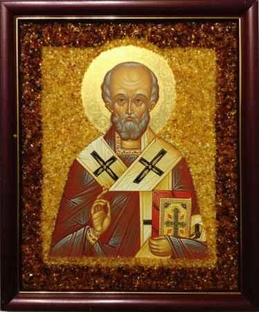 Купить Икона янтарная Святой Николай Чудотворец КЯН-404
