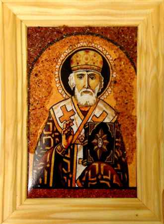 Купить Икона янтарная Святой Николай Чудотворец иян-2-705