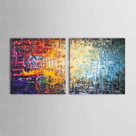 Купить картины маслом комплект из 2 современные абстрактные цветные кирпичи ручной росписью холст готовы повесить