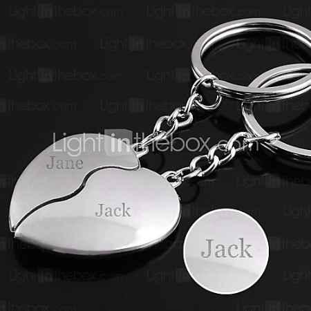 Купить Персонализированные выгравированы подарить Сердце Pair Shaped Любовник брелок
