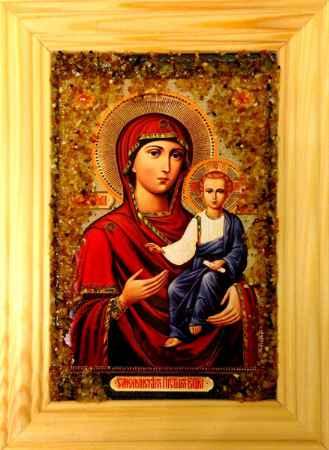 Купить Икона янтарная Смоленская Пресвятая Богородица иян-2-707