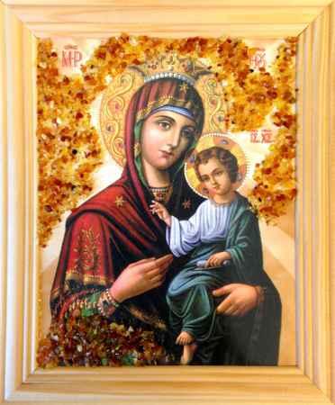 Купить Икона янтарная Божья Матерь Скоропослушница КЯН-2-303