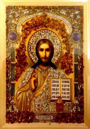 Купить Икона янтарная Господь Вседержитель КЯН-2-206