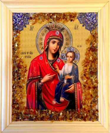 Купить Икона янтарная Иерусалимская Божья Матерь иян-2-312