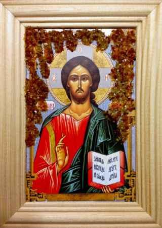 Купить Икона янтарная Иисус Христос КЯН-1-321