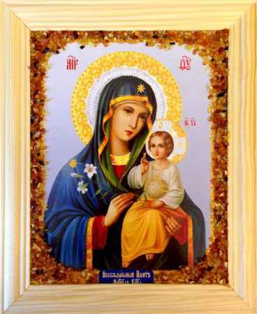 Купить Икона янтарная Неувядаемый Цвет Пресвятой Богородицы иян-2-301