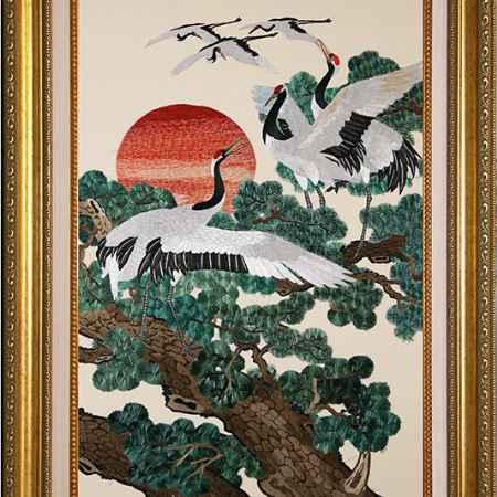 Купить Живой шелк Японские журавли у пихт Живой шелк 220311М81 МУЛЬТИКОЛОР