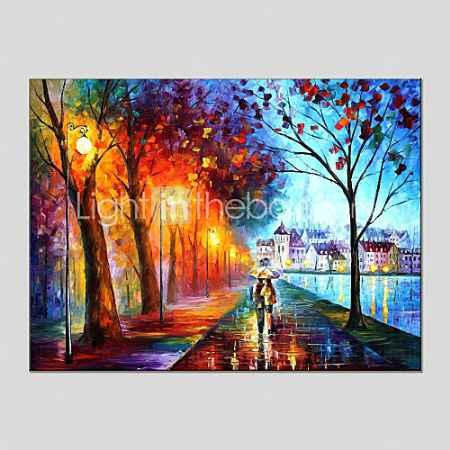 Купить картины маслом пейзаж современного дождей улица холст материал с деревянной носилках готовы повесить размер: 60  90 см. ,