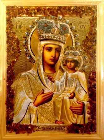 Купить Икона янтарная Озерянская Богородица КЯН-2-203
